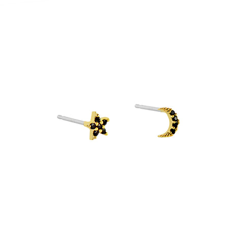 STAR & MOON PAVE BLACK GOLD CRYSTAL STUD EARRING