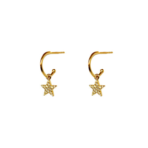 STAR CRYSTAL 1 MICRON GOLD HOOP DROP EARRINGS