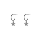STAR CRYSTAL HOOP DROP EARRINGS