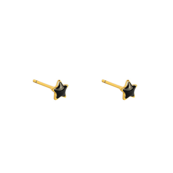 STAR BLACK ENAMEL GOLD STUDS