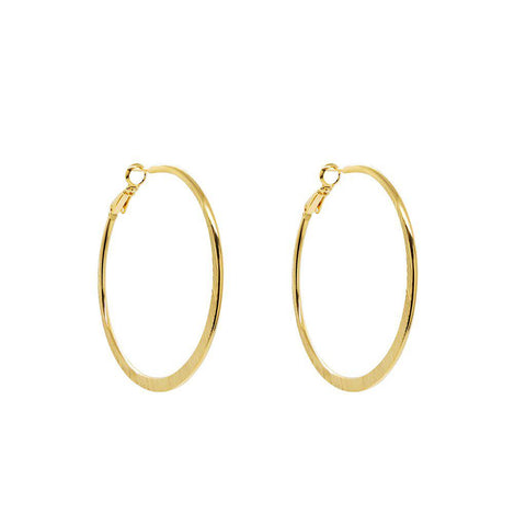 STELLA 2 MICRON GOLD LARGE HOOPS EARRINGS