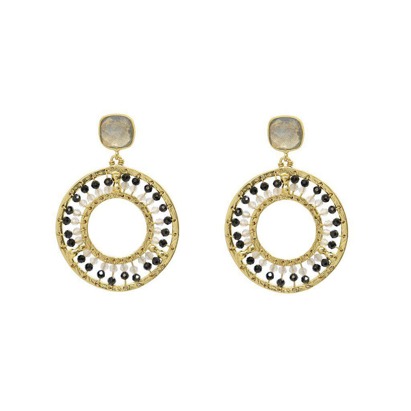 STEVIE DROP EARRING 2 MICRON GOLD SEMI PRECIOUS