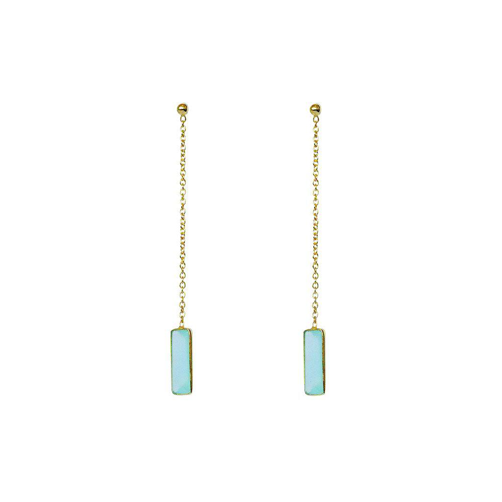 SUTTON CHALCEDONY SEMI-PRECIOUS GOLD THREAD EARRINGS