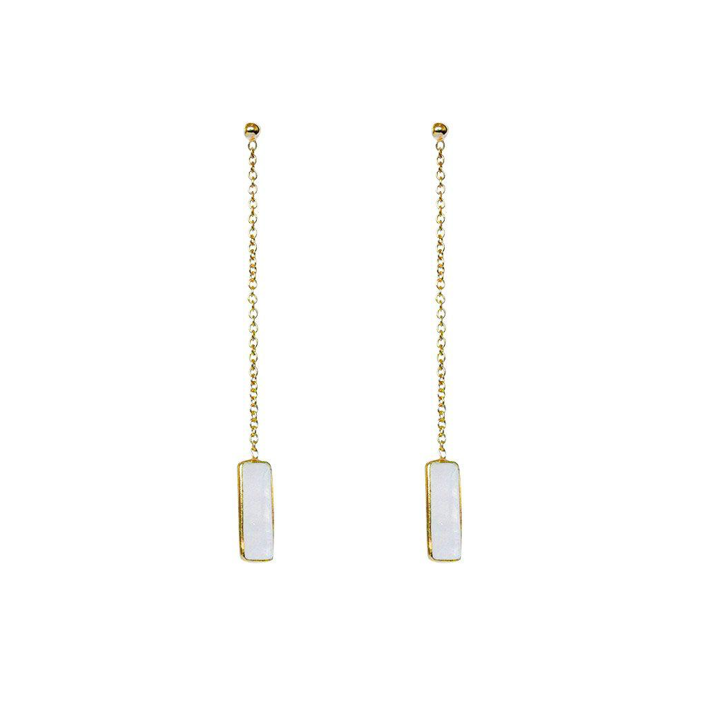 SUTTON MOON STONE SEMI-PRECIOUS GOLD THREAD EARRINGS