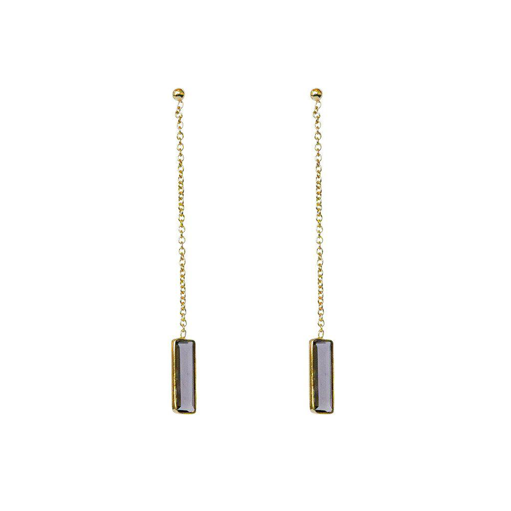 SUTTON SMOKEY QUARTZ SEMI-PRECIOUS GOLD THREAD EARRINGS