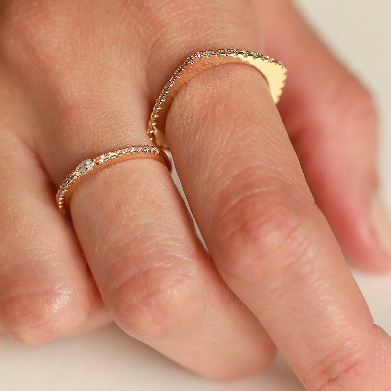 TASH SQUARE CRYSTAL GOLD RING