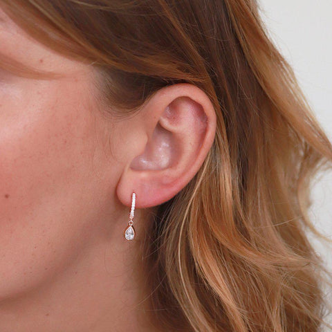 TEAR DROP CRYSTAL HUGGIES EARRINGS