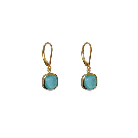 TENLEY CHALCEDONY SEMI-PRECIOUS 2 MICRON GOLD EARRINGS