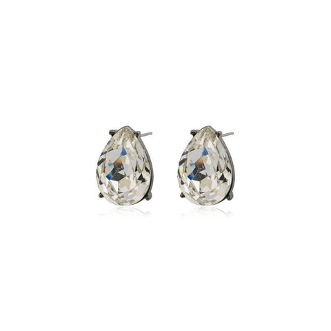 TERI CLEAR TEARDROP STUD CRYSTAL EARRING-Earrings-MEZI