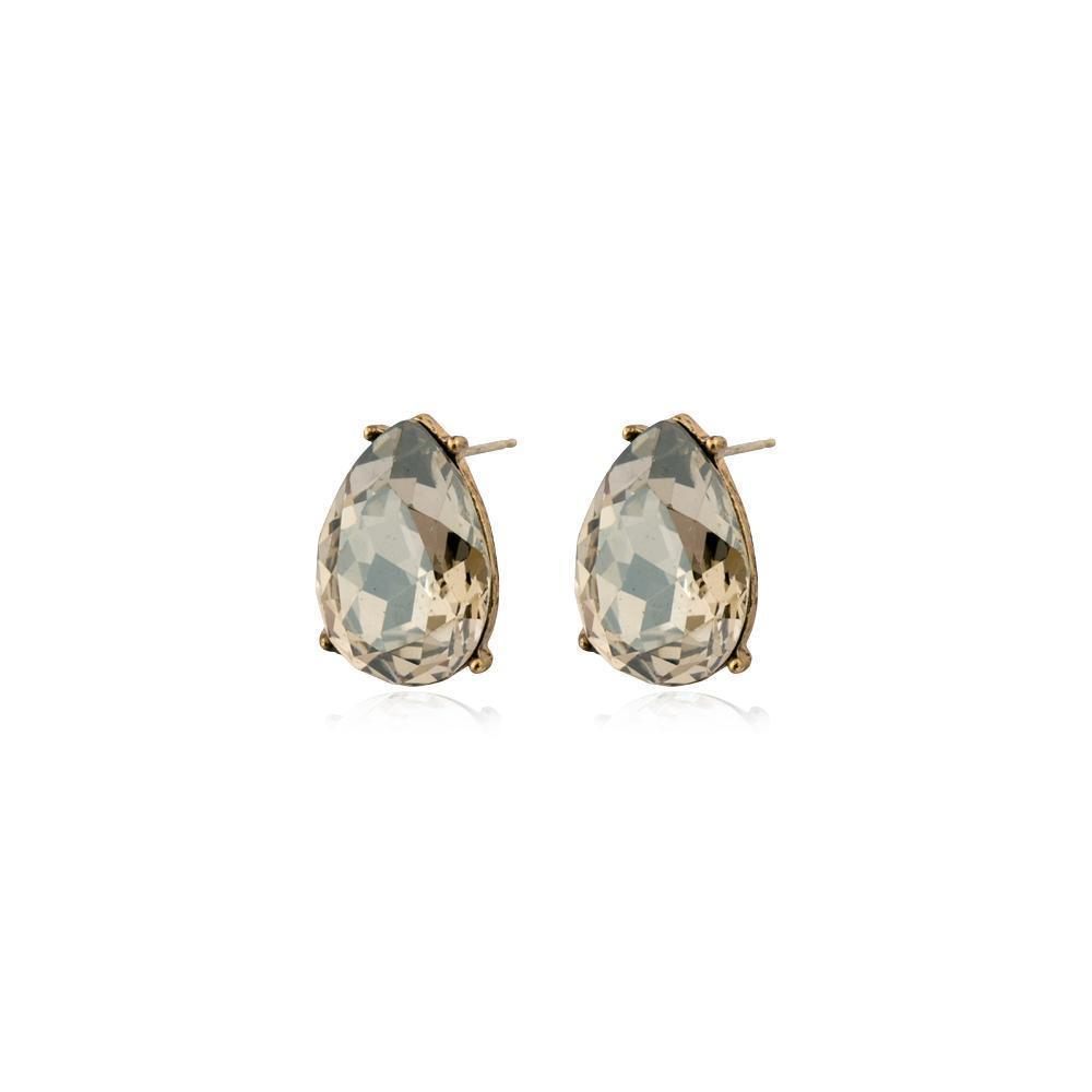 TERI GREY TEARDROP STUD CRYSTAL EARRING