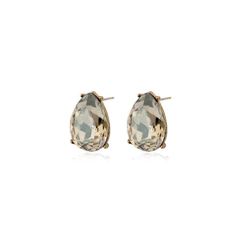 TERI GREY TEARDROP STUD CRYSTAL EARRING-Earrings-MEZI
