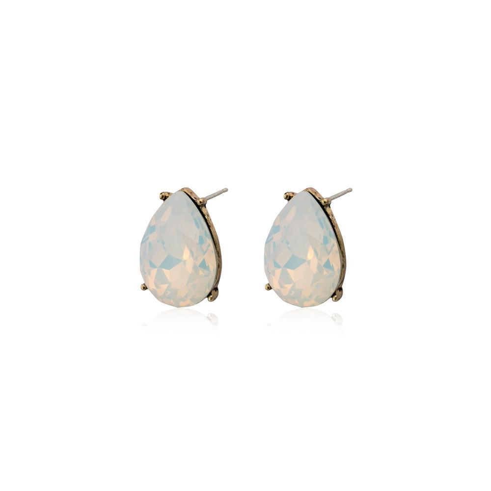 TERI WHITE TEARDROP STUD CRYSTAL EARRING