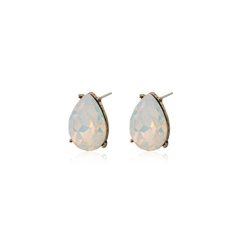 TERI WHITE TEARDROP STUD CRYSTAL EARRING-Earrings-MEZI