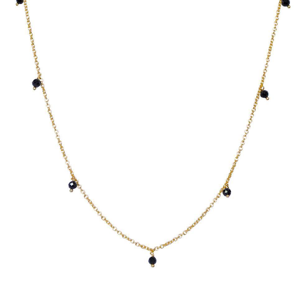 THEA ONYX SEMI PRECIOUS GOLD NECKLACE