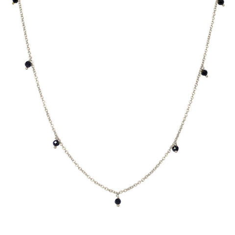 THEA ONYX SEMI PRECIOUS SILVER NECKLACE