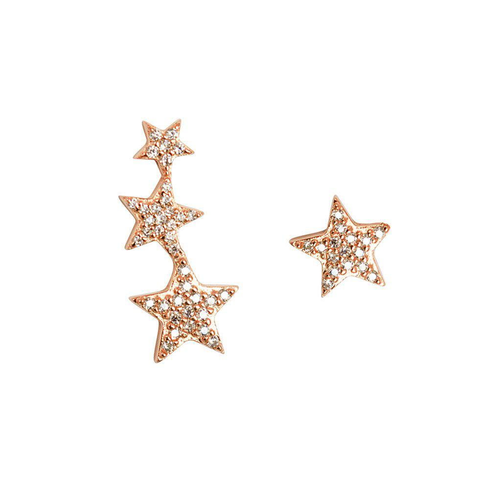 THREE STARS ROSE GOLD CRYSTAL SET CRAWLERS