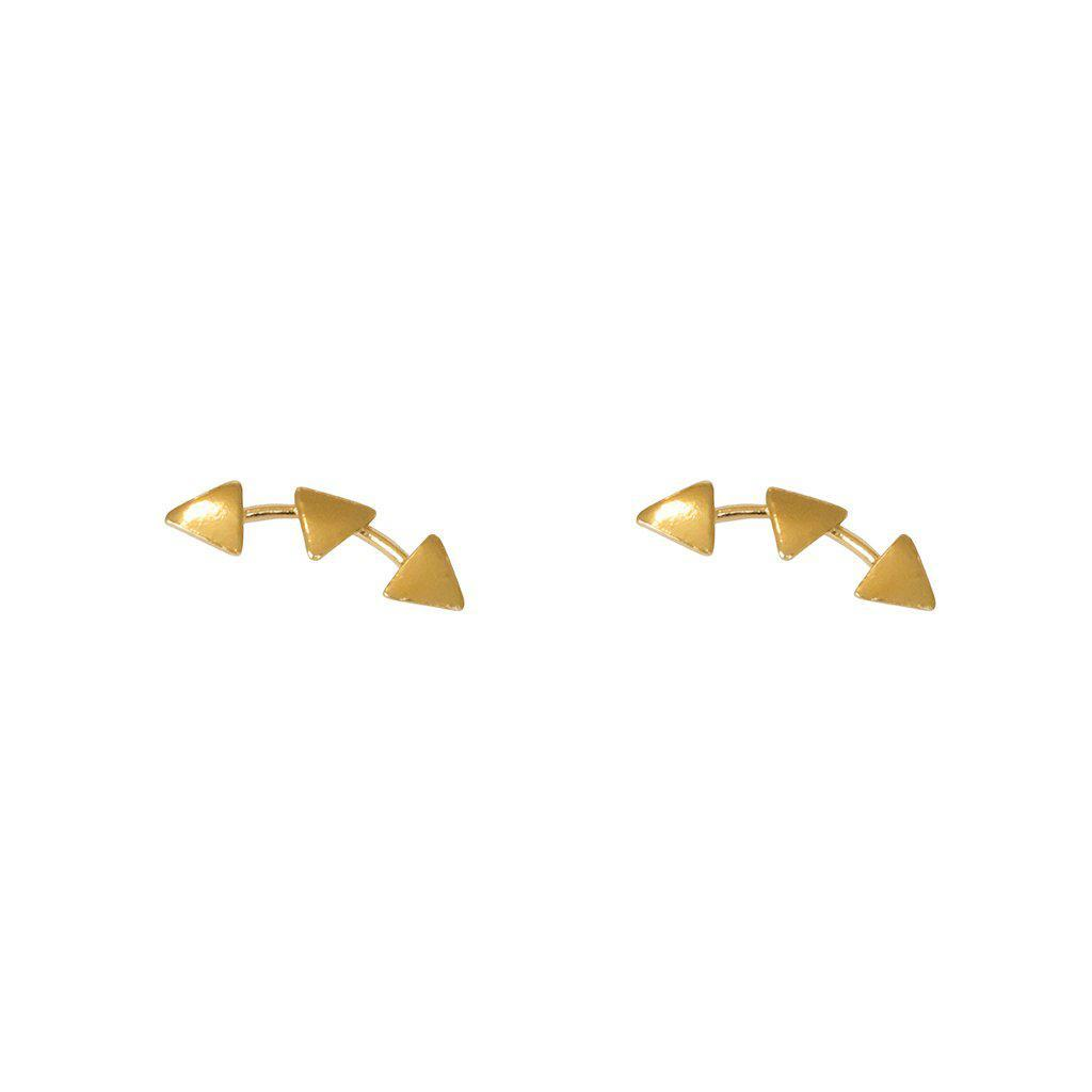 THREE TRIANGLE 2MICRON GOLD PLATED STUDS