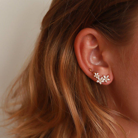 THREE FLOWERS CRYSTAL CRAWLER STUDS