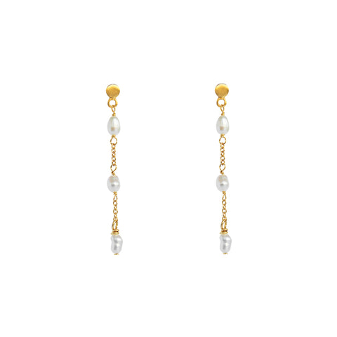 TINLEY FRESHWATER PEARL GOLD EARRINGS