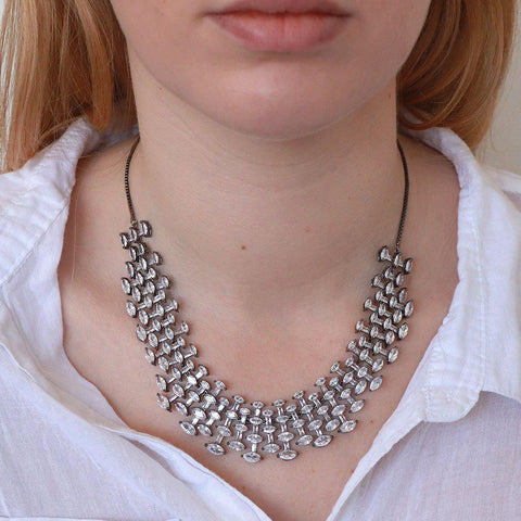 TORIL GUNMETAL CRYSTAL CHOKER/NECKLACE