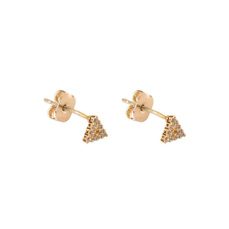 TRIANGLE GOLD CRYSTAL STUDS EARRINGS