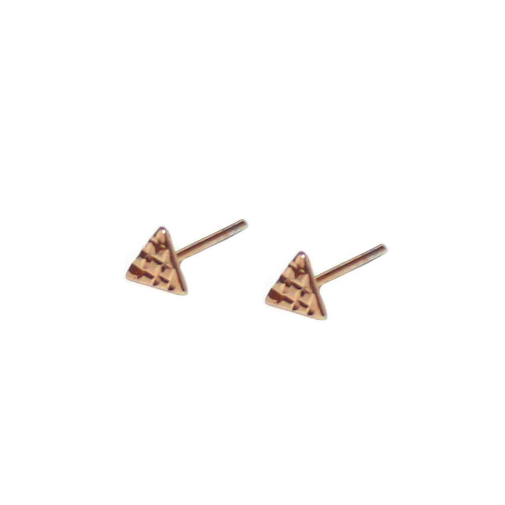 TRIANGLE HAMMERED ROSE GOLD STUDS