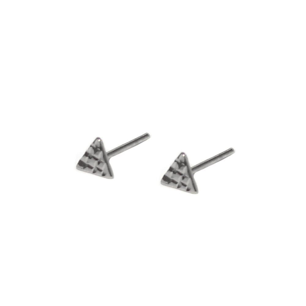 TRIANGLE HAMMERED SILVER STUDS