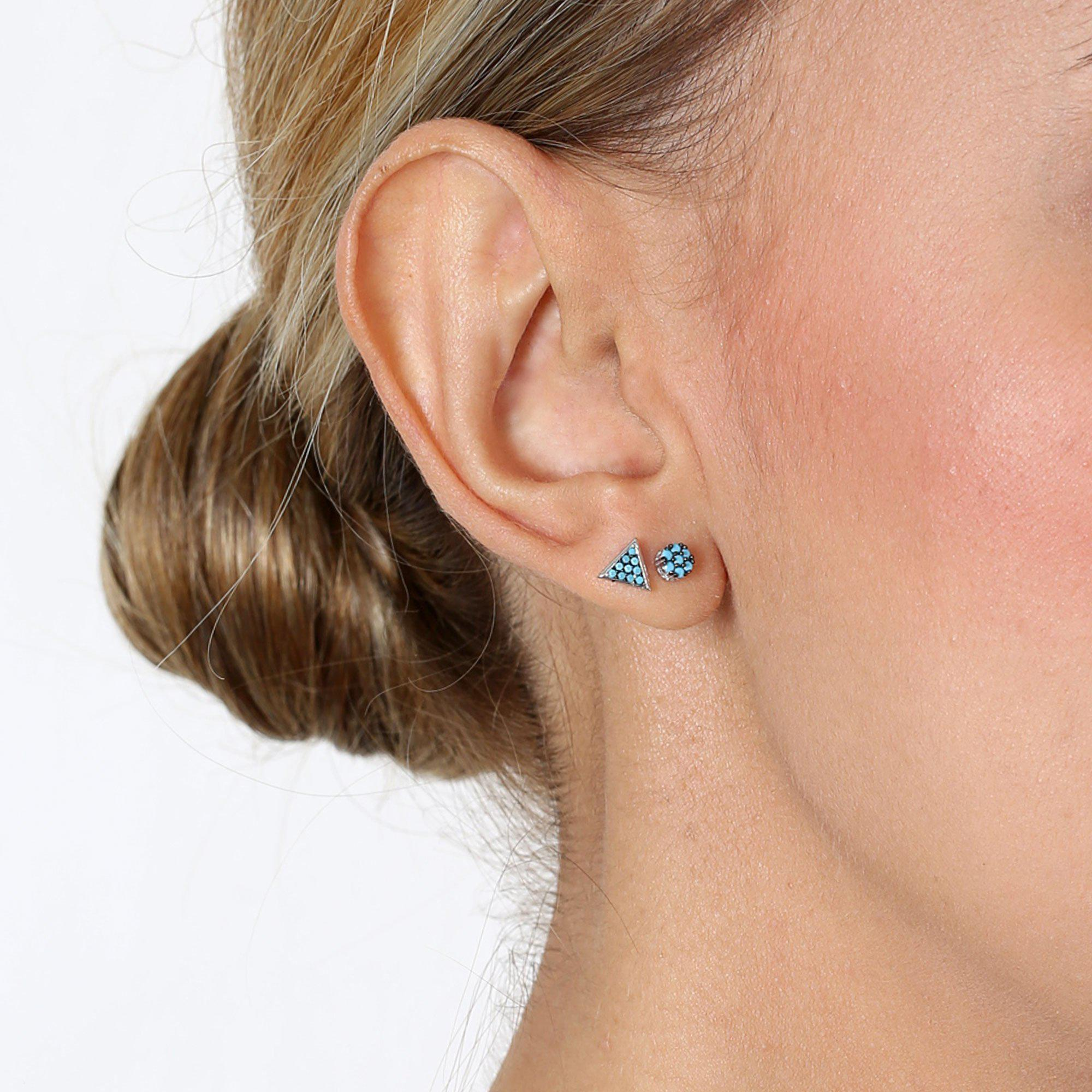 TRIANGLE TURQUOISE/SILVER STUD EARRINGS