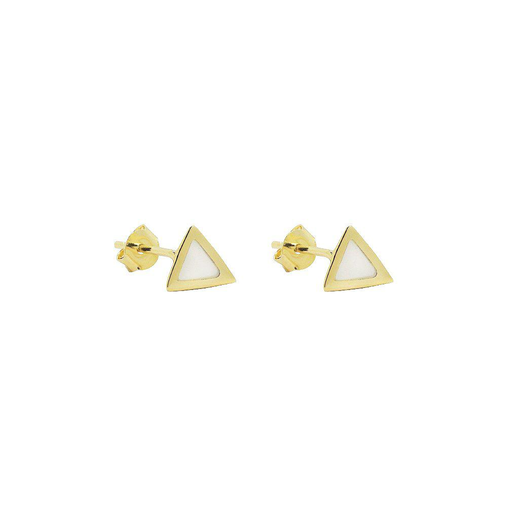 TRIANGLE SEMI PRECIOUS - MOTHER OF PEARL STUDS 2 MICRON GOLD PLATED