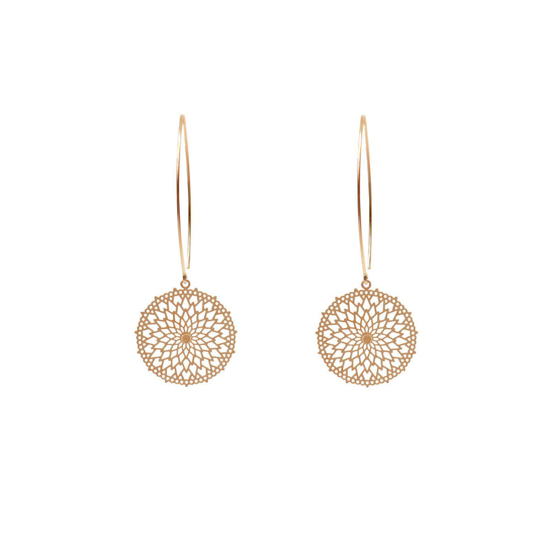TRINA FILIGREE GOLD FILLED DROP HOOK EARRINGS