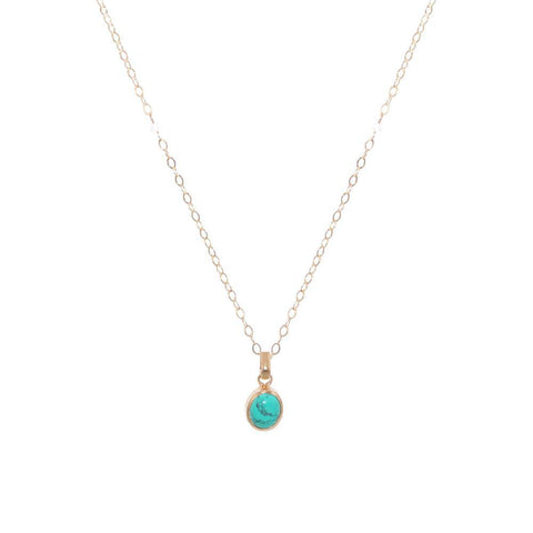 TURQUOISE GOLD FILLED LARGE DROP PENDANT-Necklaces-MEZI
