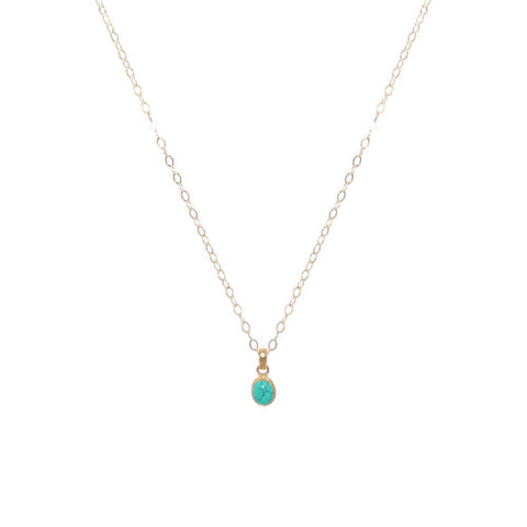 TURQUOISE GOLD FILLED OVAL SMALL DROP PENDANT-Necklaces-MEZI