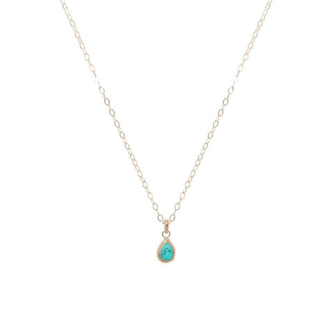 TURQUOISE GOLD FILLED TEAR DROP PENDANT-Necklaces-MEZI