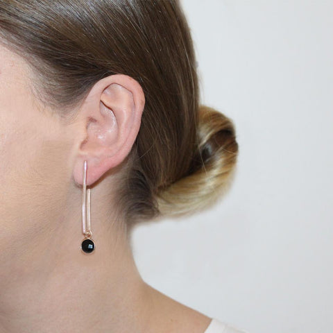 TYNE ONYX ROSE GOLD DROP EARRINGS