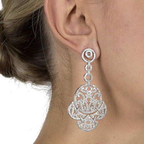 TYRA SILVER CRYSTAL EARRINGS-Earrings-MEZI