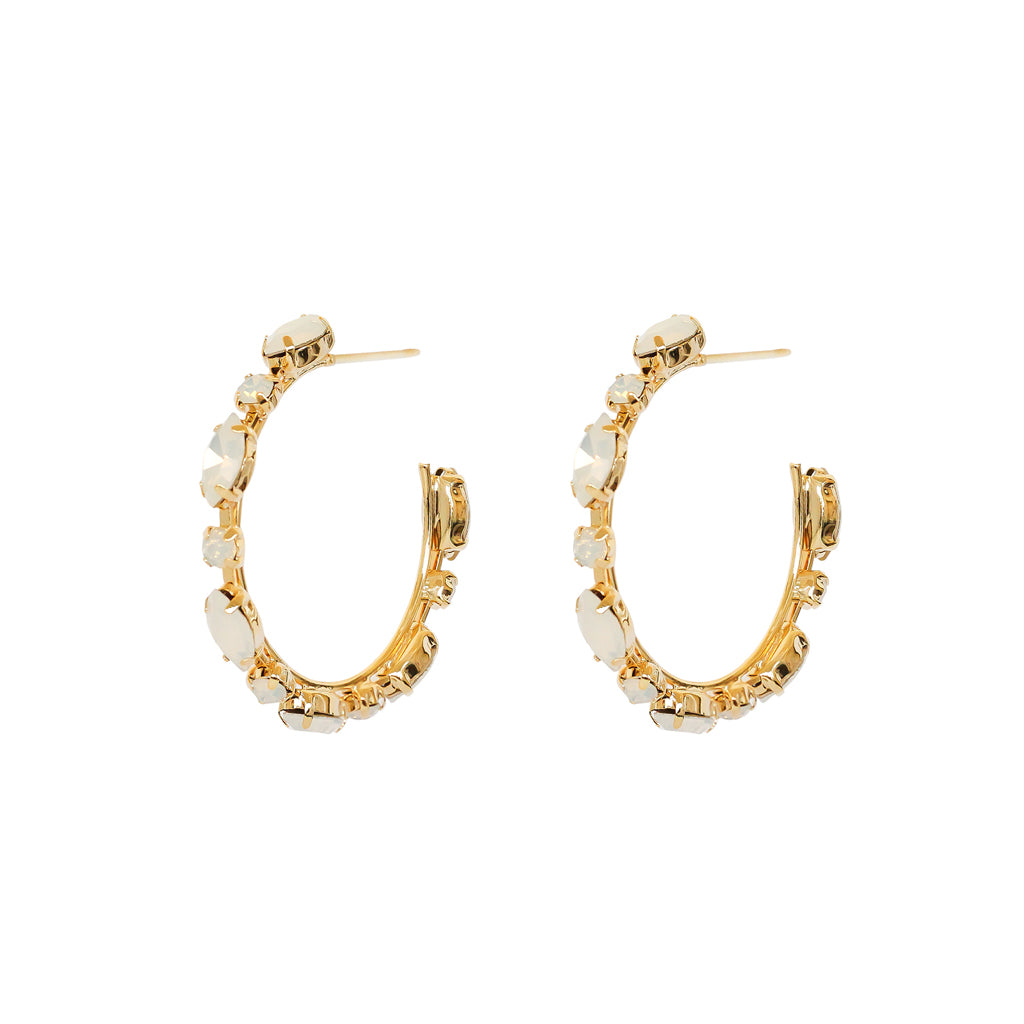 VAHE WHITE CRYSTAL GOLD HOOP EARRINGS