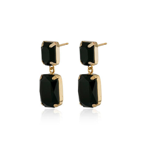VALE LARGE BLACK DROP CRYSTAL EARRING-Earrings-MEZI