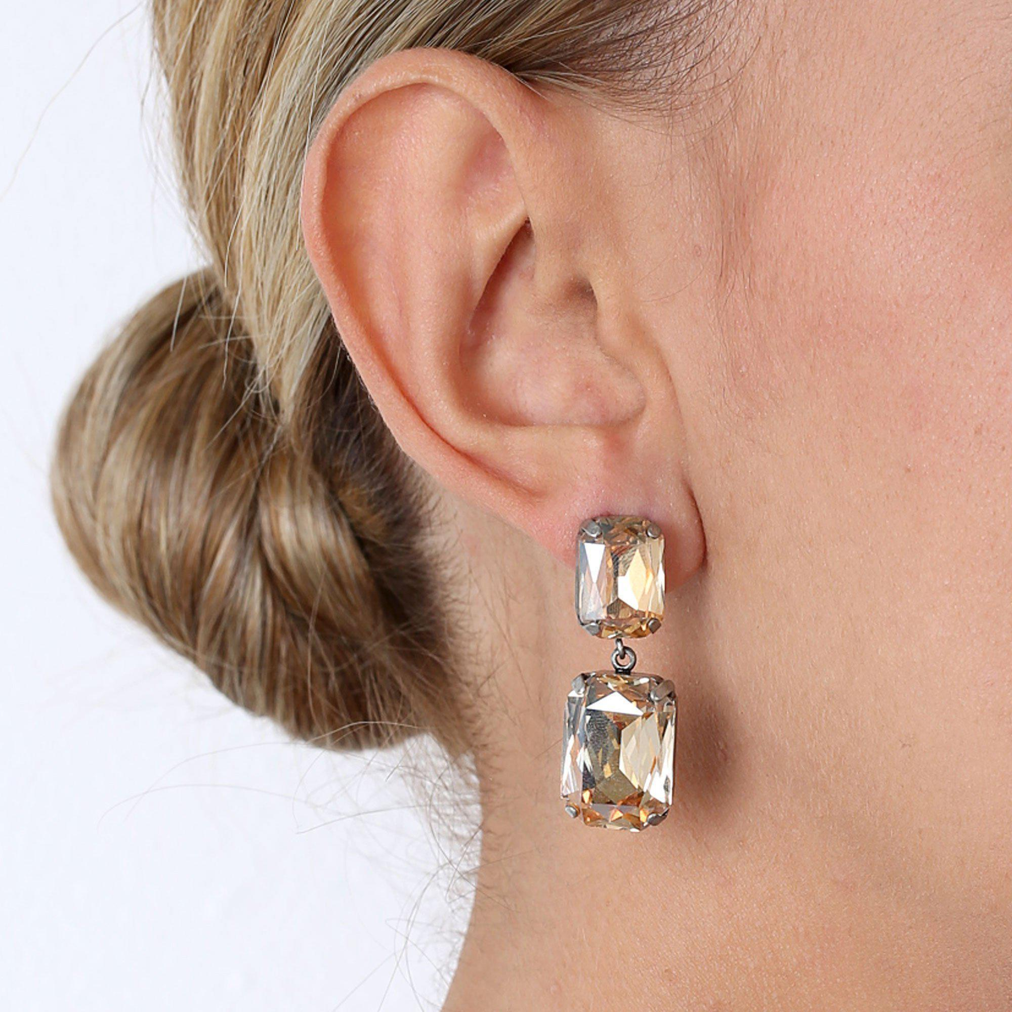 VALE LARGE GOLD DROP CRYSTAL EARRING