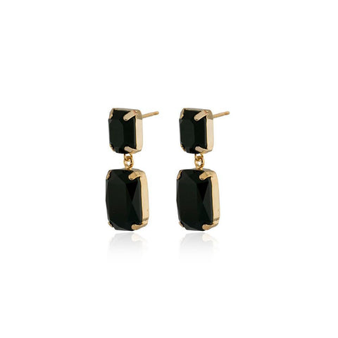 VALE SMALL BLACK DROP CRYSTAL EARRING-Earrings-MEZI