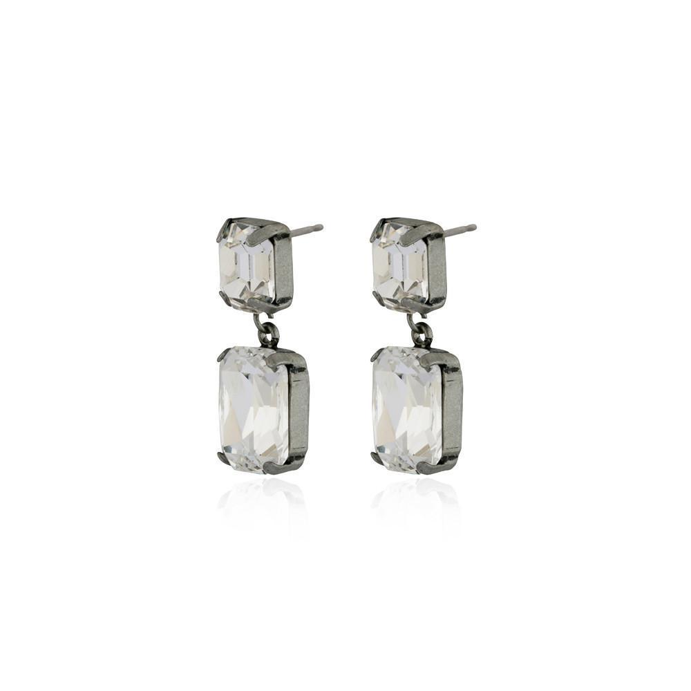 VALE SMALL CLEAR DROP CRYSTAL EARRING