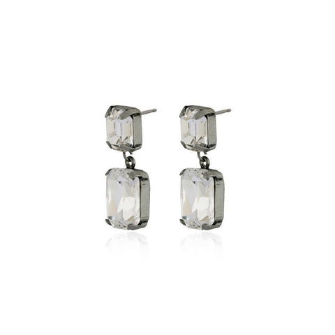 VALE SMALL CLEAR DROP CRYSTAL EARRING-Earrings-MEZI