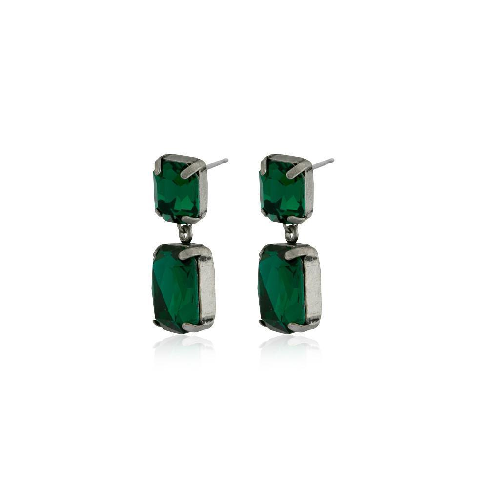 VALE SMALL EMERALD DROP CRYSTAL EARRING