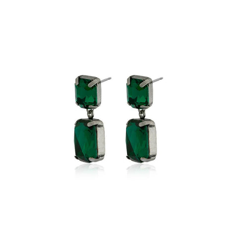 VALE SMALL EMERALD DROP CRYSTAL EARRING-Earrings-MEZI