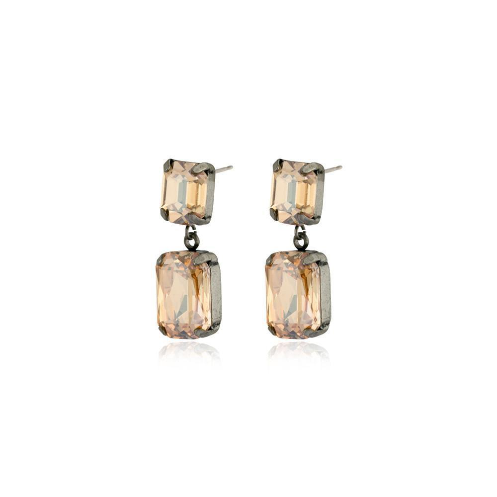 VALE SMALL GOLD DROP CRYSTAL EARRING