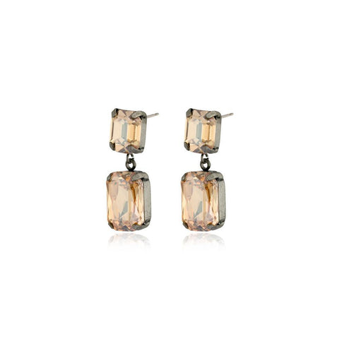VALE SMALL GOLD DROP CRYSTAL EARRING-Earrings-MEZI