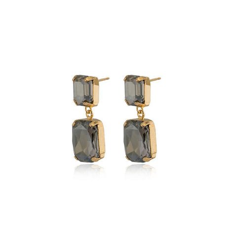 VALE SMALL GREY DROP CRYSTAL EARRING-Earrings-MEZI