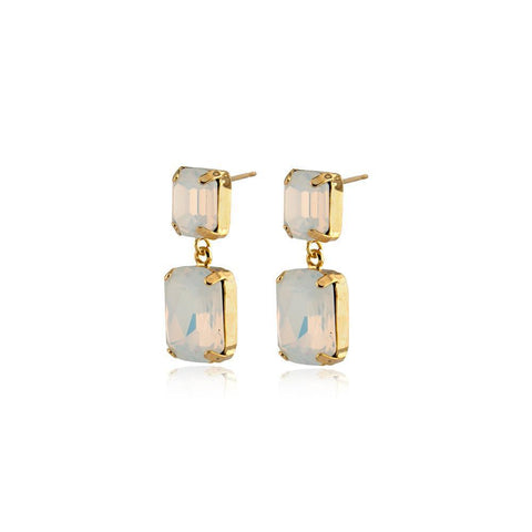 VALE SMALL WHITE DROP CRYSTAL EARRING-Earrings-MEZI