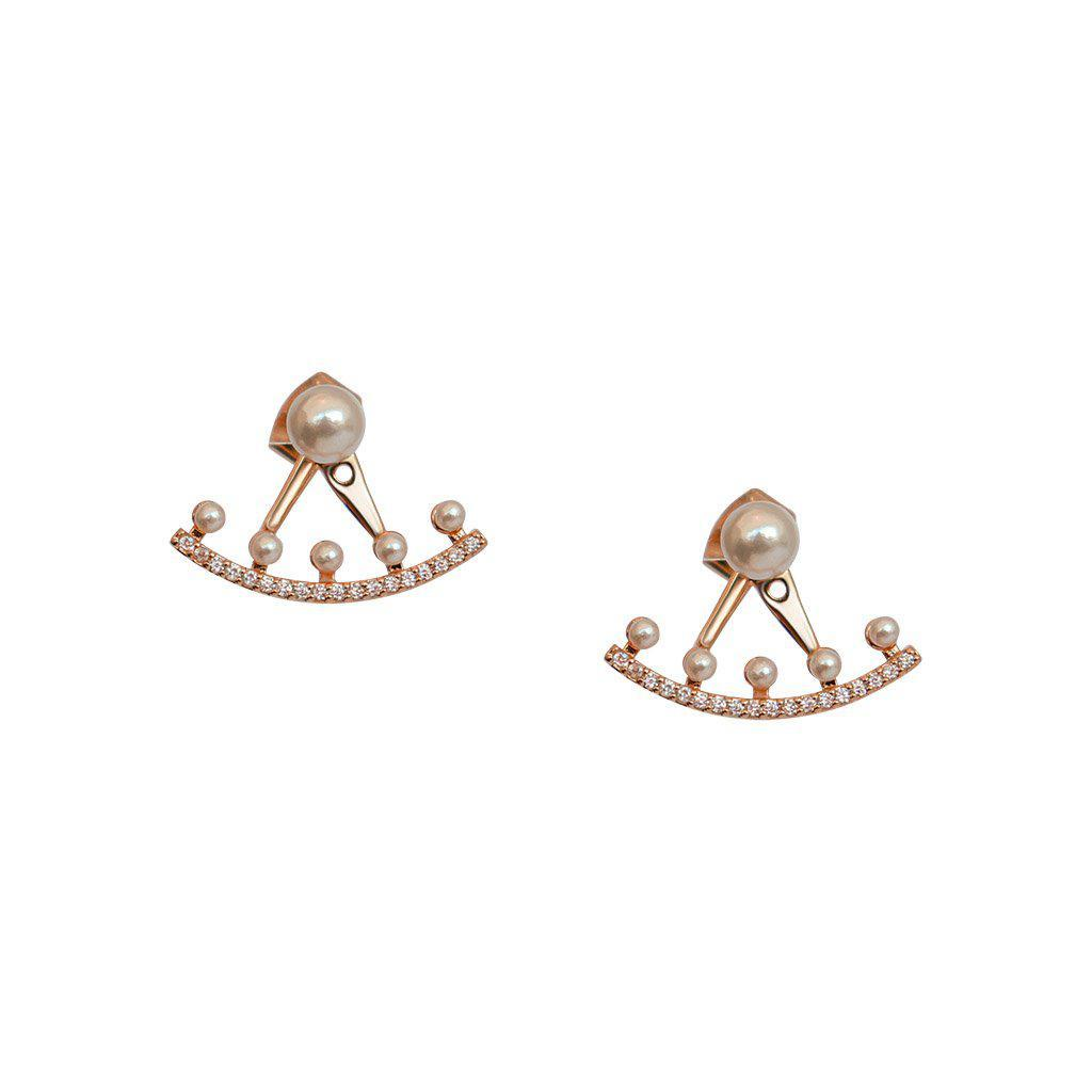 VALLI PEARL AND CRYSTAL ROSE GOLD JACKET EARRINGS