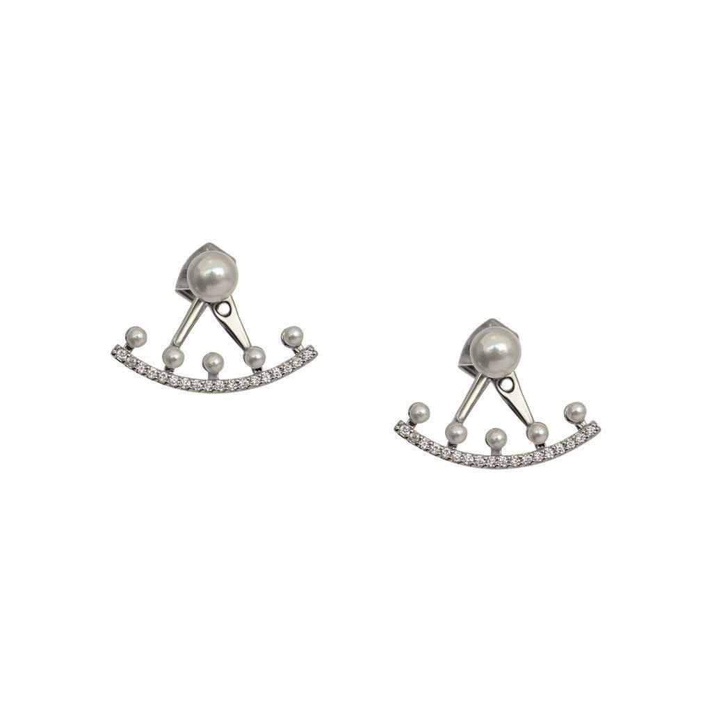 VALLI PEARL AND CRYSTAL SILVER JACKET EARRINGS