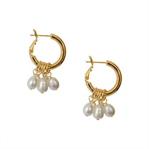 VANESSA GOLD FRESH WATER PEARL HOOPS EARRINGS